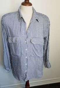 Zara flowy striped button down shirt blouse